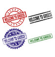scratched textured welcome to greece stamp seals vector image vector image