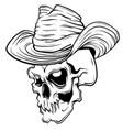 skull in black cowboy s hat vector image