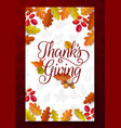 thanks giving greeting card fallen leaves vector image vector image