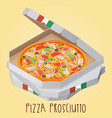 the real pizza prosciutt italian pizza in box vector image vector image
