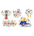 vegan cosmetic cartoon collection skincare vector image