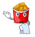 waiter chicken nuggets in the cartoon shape vector image vector image