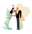 wedding day bride and groom marriage ceremony vector image