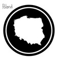 white map of poland on black circle vector image vector image