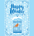 winter banner with bird in the cage vector image vector image