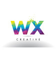 wx w x colorful letter origami triangles design vector image vector image