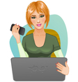 Young woman at laptop with mobile vector image