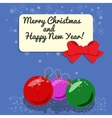 Christmas card with three balls studded snow vector image