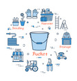 blue gardening - bucket vector image