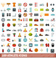 100 athlete icons set flat style vector image vector image