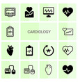 14 cardiology icons vector image vector image