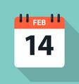 14 february valentine s day calendar icon eps10 vector image