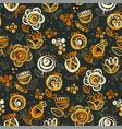 60s vibes orange on black floral seamless pattern vector image vector image