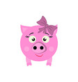 a pig with bow new year icon in color vector image vector image