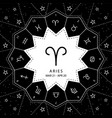 aries zodiac signs outline style set on vector image