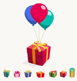 balloon with gift box holiday surprise package vector image