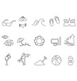 black beach outline icons set vector image