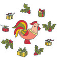bright decorative rooster with gifts vector image