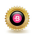 bytecoin cryptocurrency coin gold badge vector image