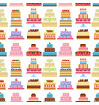 cake pie tart happy birthday cartoon seamless vector image vector image