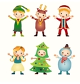 Children in costumes isolated on white background vector image