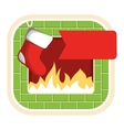 Christmas Label Icon Flat with Fireplace and Sock vector image vector image