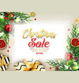 christmas sale background with gift boxes golden vector image