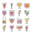 cocktail icon drink liquor alcohol glass cups vector image vector image