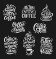 coffee cup and beans lettering vector image
