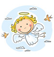 cute angel flying with birds vector image