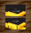 dark business card with abstract yellow shapes vector image vector image