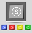 Dollar icon sign on the original five colored vector image