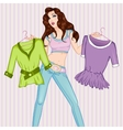 Fashion of pondered woman vector image vector image