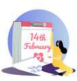 girl sits calendar valentine s day flat vector image