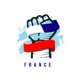 hand and flag france template design vector image