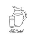 hand drawn milk jug and glass vector image vector image