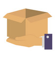 hands with carton box vector image vector image