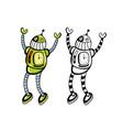 happy robots set vector image