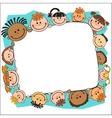 kids peeping behind banner vector image vector image