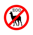 Lama in zoo prohibited vector image