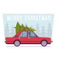 merry christmas tree on car top vector image