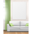 mockup interior with sofa window and poster vector image vector image