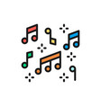 music notes flat color line icon isolated vector image