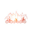 parents with child riding bikes vector image vector image