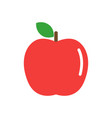 red apple with a green leaf isolated on white vector image