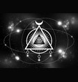 sacred masonic symbol all seeing eye galaxy vector image vector image