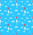 seamless pattern rabbit with balloon in sky vector image vector image