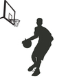 silhouette basketball player vector image vector image
