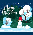 snowman and fir-tree merry christmas card vector image vector image