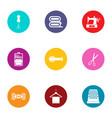 stitch icons set flat style vector image vector image